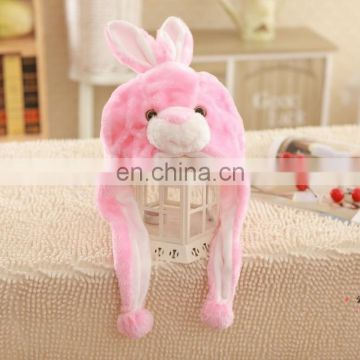 Lovely and beautiful 2016 newest plush pink rabbit toy hat for adult wholesale price