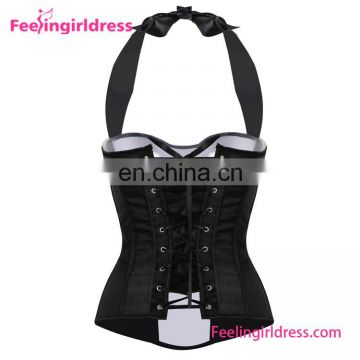 White&Black Corset Sex Plus Size Overbust Bustier Top With Straps