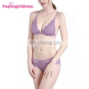 Sexy Designer High Quality Mature Woman Lace Padded Bra Panty Set