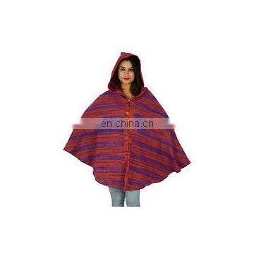 Ponchos With Hood Wool Blend Women Plus Size Top Boho Clothing Winter Wea Clothing Hood & Pocket Bohemian Boho Handmade Yak Wool