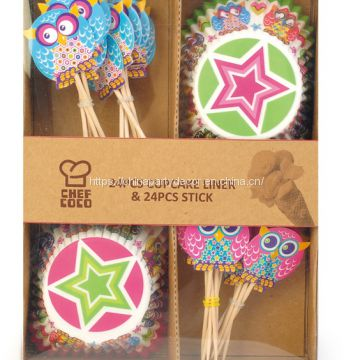 Party Supplies Cupcake Toppers with Liners Decoration Kit, 48 Piece