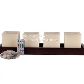 Square Ivory Led Candles/Paraffin Wax Led Candle Light Set