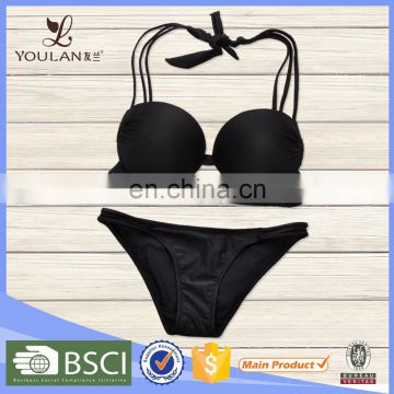 High Quality Delicate Polyester Spandex Low Waist Black hot korean teen girl bikini