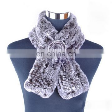 Newest style knit rex rabbit ladies fur scarf with fur flower
