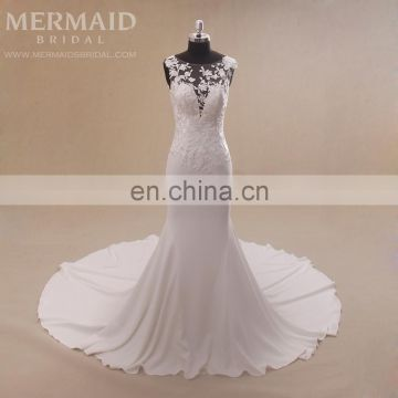 Sexy illusion back lace long trail mermaid wedding dress 2017