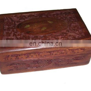 "WOODEN BOX CARVING & BRASS INLAY DESIGN (7""X 5""X 2.5"" )"