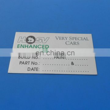 Promotional corporate logo & phone number aluminum metal logo plates