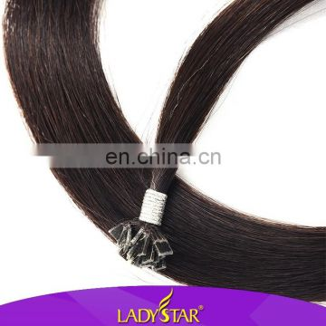 Ladystar european remy flat tip natural color hair extension human hair
