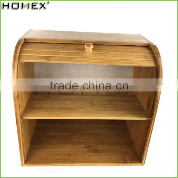 Bamboo Rolltop Bread Box/bread display cabinet Homex-BSCI