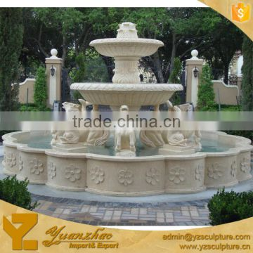 large size garden standing lady with lion head natural stone water fountain