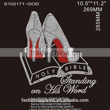custom high quality crystal High heels&Holy bible hot fix rhinestone for clothing made in china