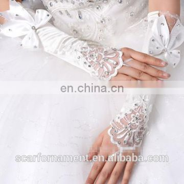 Latest Satin Elbow Length Bridal Glove Pearl Beaded &Rhinestone Big Bows With Lace Fingerless Gloves For Wedding Dress