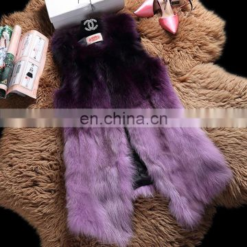 Tongxiang wholesale raccoon fur gilet long pattern women fur waistcoat