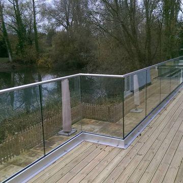 Modern Aluminium Glass Balcony Fence Deck Railing With