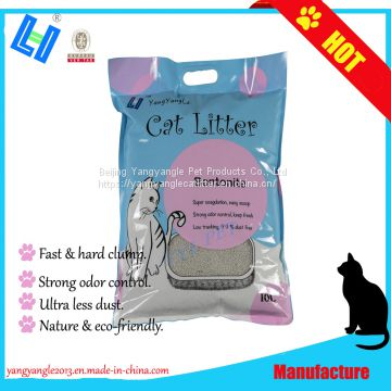 Bentonite cat litter with 10L, ultra less dust, super odor control, hard clump