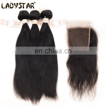 LADYSTAR Brazilian Unprocessed Premium 100%Human Hair Virgin Hair 3Pcs Unprocessed Hair with 4*4 Lace Front Closure