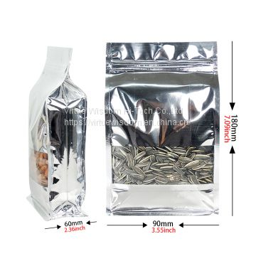 500g Silver aluminum foil quad seal flat bottom pouch with zipper and rectangle window for seed packaging bags
