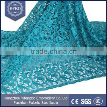 2016 cord embroidery design teal guipure african cupion lace wholesale wedding dress bridal gown polyeater stock lot fabric