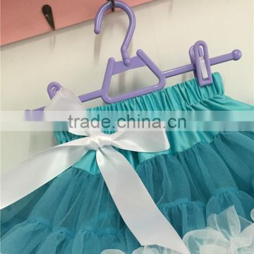 MOQ 1PCS factory direct sell kids blue tulle with white trim tutu skirts