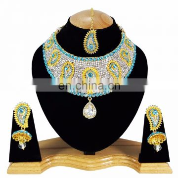 Gold Plated Indian Handmade Ethnic Party wear Kundan Zerconic Necklace set Tuquoise Color