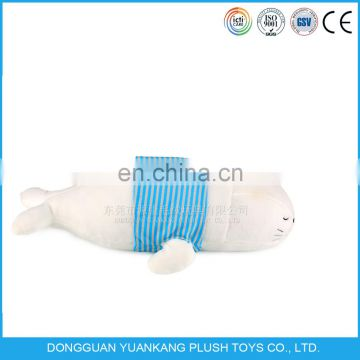 Lovely soft 30CM white plush sea lion pillow