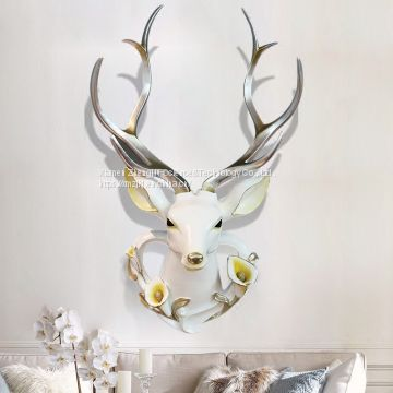 home decor Creative products european-style retro imitation animal deer head wall wall wall hanging wall decoration resin home style crafts