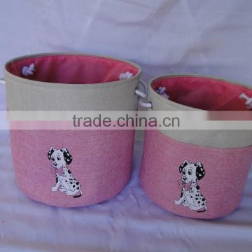set of 2 cloth storage basket with embroidery