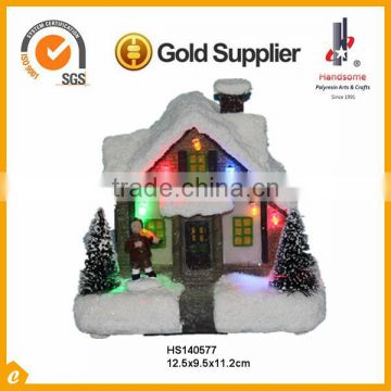 Small Inch Led Decoration Resin Christmas Village Houses