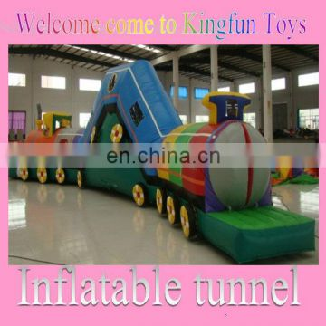 Customized train inflatable obstacle tunnel toys