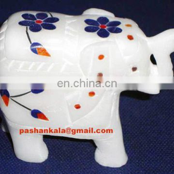 Indian White Marble Inlay Elephant Statue