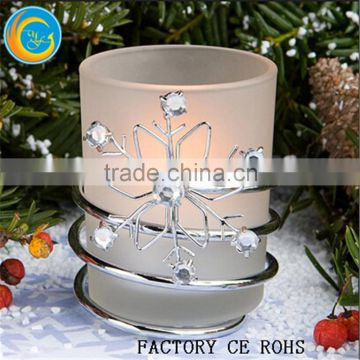 rhinestone frosted glass with glitter snowflakes free flameless candle frosted votive candle holders christmas - How To Decorate Votive Candle Holders For Christmas
