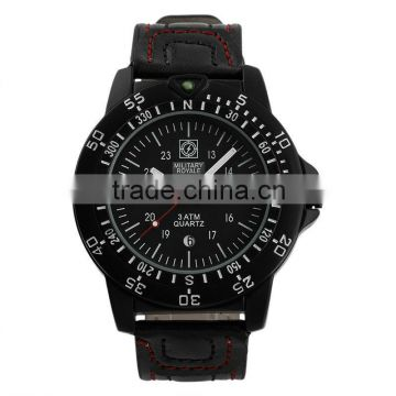 High Quality Brand Watch Men's Black Leather Strap Watch Military MR079