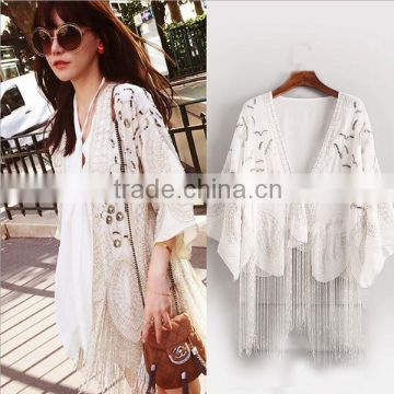 High Quality 2016 Summer Fashion Women Half Flare Sleeve Blouses Tassel Complicated Embroidery Beaded Sequin Long Cardigan