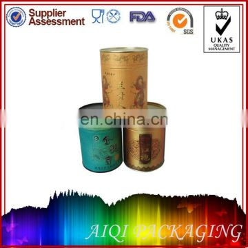 round paper canister with metal lid and bottom