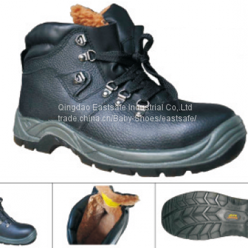 Split leather safety shoes PU outer sole steel toe work shoe
