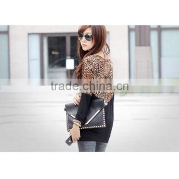 Spring free size new design korean style fashion cotton leopard stitching long sleeve apparel t shirt