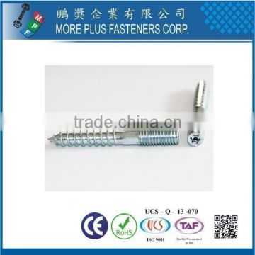 Taiwan Stainless Steel Zinc Finish Steel with Useable Length Each End Dowel Screw