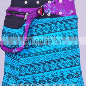 Deep Sky Blue Trivial Print Cotton Fabric Gypsy Wrap Around Skirt With Bag Belt HHCS 140 E