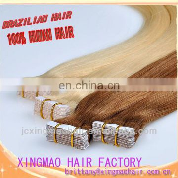 Hot sale 100% Brazilian human hair extensions skin-weft tape hair