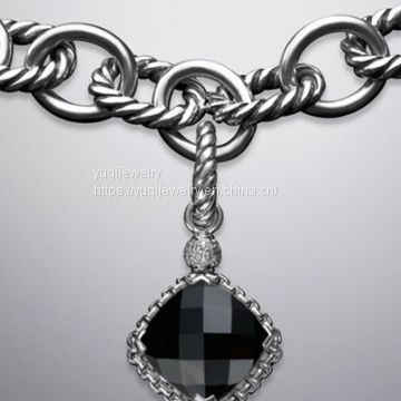 925 Silver Jewelry 11mm Black Onyx Cushion on Point Charm(P-081)