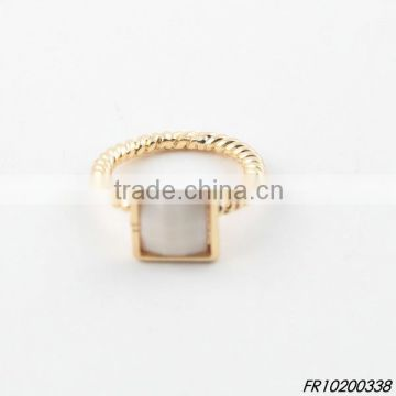 gold cream square resin ring