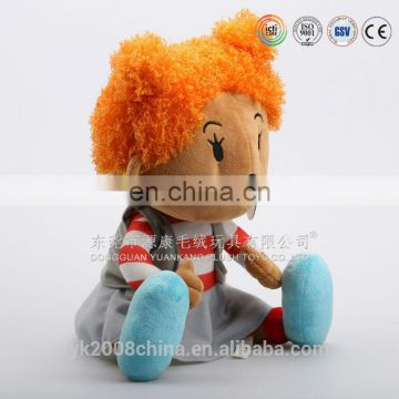 China plush toys manufacturers made 3D face African American dolls