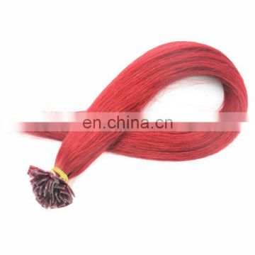 High quality remy indian human hair plat tip hair extensions silky straight red color wholesale price