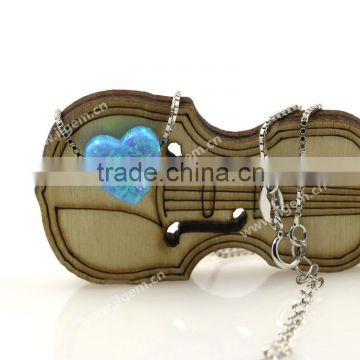 Factory Price Synthetic Light Blue Opal Heart 925 Sterling Silver Box Chain Fashion Jewelry