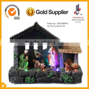 Religious Nativity Figures Wooden Manger Creche Stable with LED