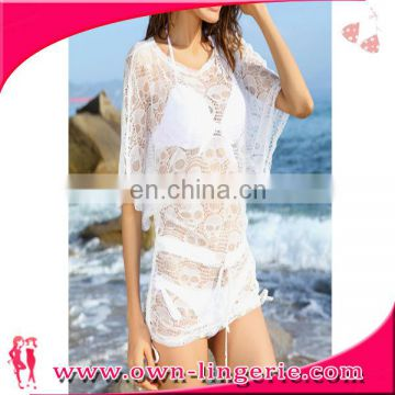 2016 Summer Women white or black lace See through Lace swim suit cover up