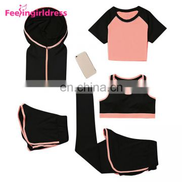 Bulk Wholesale Custom Logo 5 Piece Women Tracksuit Set Women Plain Latest Design Tracksuit