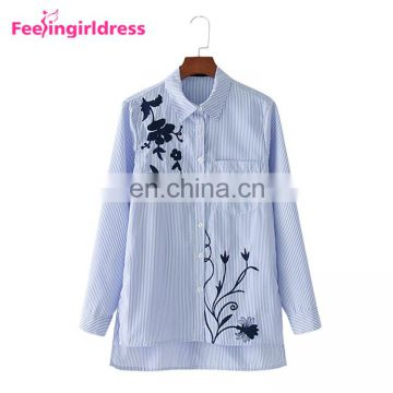 Fashion Latest Shirt Designs Autumn Embroidery Flower Long Sleeve T-Shirt Women