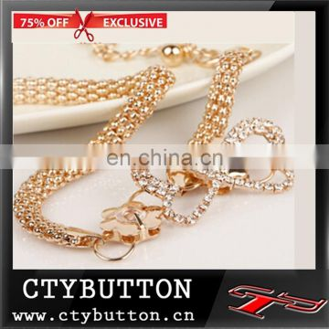 High fashion shiny stone double buck gold chain belt
