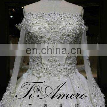 Latest Custom Made Long Sleeve Long Train Handmade Crystals Pearls Lace Heavy Beading Ball Gown Wedding Dress Tiamero 1A778